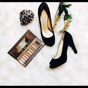 Kate Spade black open toe suede heels size 7.5.